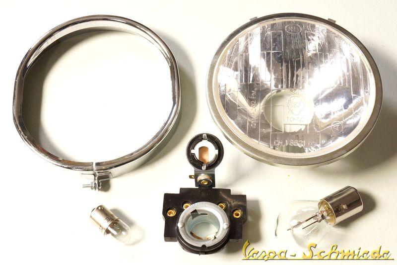vespa set original siem scheinwerfer 125 pv et3 ss lampenring sockel lampe ebay. Black Bedroom Furniture Sets. Home Design Ideas