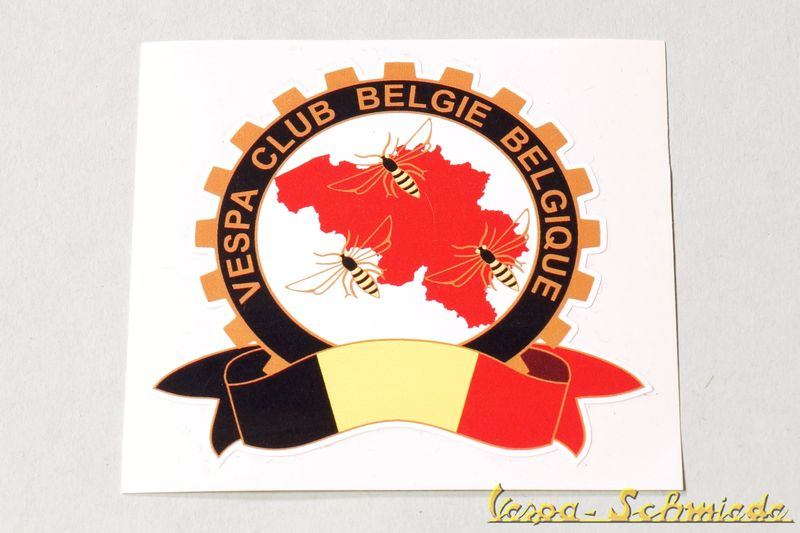 "Aufkleber ""Vespa Club Belgique Belgie"" - Neue Version"