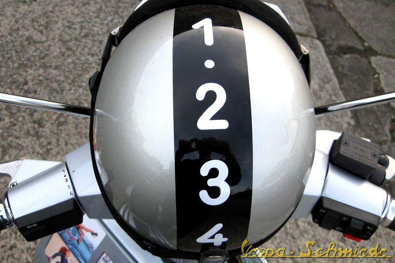 Aufkleber Helm Handschaltung Weiß